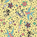 Seamless pattern with traditional tattoos, tattoo equipment and piercings in vintage color