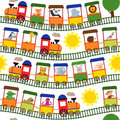 Seamless pattern train with animals