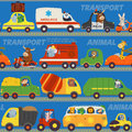Seamless pattern transports with animals on road