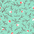Seamless pattern with tree branch and mushrooms over green background.