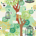 Seamless pattern with trees, birds in cage and floral ornament Royalty Free Stock Photo