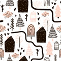 Seamless pattern with trees, houses. Forest background. Childish texture for fabric, textile.Vector Illustration