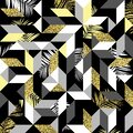 282_Trendy geometric cards with abstract seamless pattern Royalty Free Stock Photo