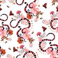 Seamless pattern Trendy snake with flowers graphic design vector