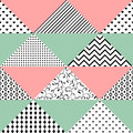 Seamless pattern of triangles with different textures. The patte