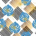 Seamless pattern with tropical blue and golden leaves, stripes