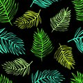Seamless pattern of tropical exotic leaves