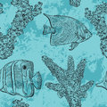 Seamless pattern with tropical fish, marine plants and corals. Vintage hand drawn vector illustration marine life. Royalty Free Stock Photo