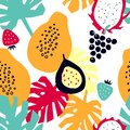 Seamless pattern with tropical fruits - dragon fruit; papaya; strawberry; grapes; passion fruit.