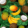 Seamless pattern with tropical fruits and leaves. Background made without clipping mask. Easy to use for backdrop