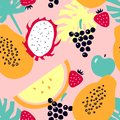 Seamless pattern with tropical fruits - melon; dragon fruit; papaya; strawberry; apple; grapes.