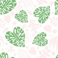 Seamless pattern of tropical leaves, flowers and plants on a white background. Colorful botanical background of pink and green