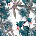 Seamless pattern with tropical leaves and hibiscus flowers. Dark and bright green palm leaves on the white background. Royalty Free Stock Photo