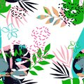 Seamless pattern of tropical leaves with memphis