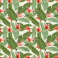 Seamless Pattern. Tropical Palm Leaves and Flowers Background