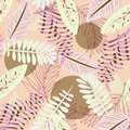 Seamless pattern with tropical plants and abstraction on beige background. Vector design. Jungle print. Textiles and printing.