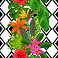 Seamless pattern with tropical plants, leaves and flowers. Background made without clipping mask. Easy to use for Royalty Free Stock Photo