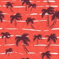 Seamless pattern with tropical trees. Dark, bright palm on the pink red illustration. Jungle foliage on the background