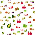 Seamless pattern with tropical fruits. Vector background Royalty Free Stock Photo