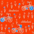 Seamless pattern with tulips and bicycles