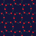 Seamless pattern with tulips on the dark blue background
