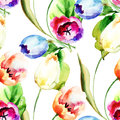 Seamless pattern with tulips flowers watercolor illustration Royalty Free Stock Images