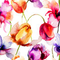 Seamless pattern with tulips flowers watercolor illustration Stock Photography