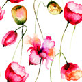 Seamless pattern with tulips flowers watercolor illustration Royalty Free Stock Photos