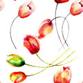 Seamless pattern with tulips flowers watercolor painting Stock Photos