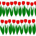 Seamless Pattern of tulips in a row