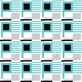 Seamless pattern of the turquoise, gray and black geometric figures on a white background.
