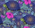Seamless pattern of turtle, chameleon and flowers Royalty Free Stock Photo