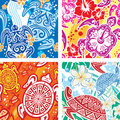 Seamless pattern with turtles Stock Photo