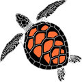 sea turtle in three color on the isolated white background