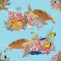 Seamless pattern. Two Green sea turtle swimming under water