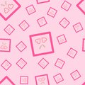 A seamless pattern of two pink hearts in a square, with golden stripes. On a pink background. Also in vector. Royalty Free Stock Photo
