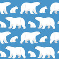Seamless pattern with two polar bears she bear and teddy bear vector on blue background Royalty Free Stock Image