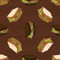 Seamless pattern of two types sandwiches