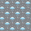 Seamless pattern with umbrellas blue on gray background in vector Stock Image