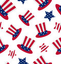 Seamless pattern with Uncle Sams top hat and stars for american Royalty Free Stock Photo