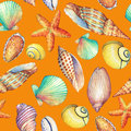 Seamless pattern with underwater life objects, isolated on orange background. Marine design-shell, sea star.  Watercolor hand d Royalty Free Stock Photo