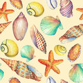 Seamless pattern with underwater life objects, isolated on yellow background. Marine design-shell, sea star.  Watercolor hand draw Royalty Free Stock Photo
