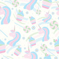Seamless pattern with unicorn, lollipop and cupcakes. Cute background for textile, card, banners.