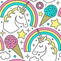 Seamless pattern with unicorn, rainbow, clouds, stars, ice cream, donuts. Vector cartoon style character. Isolated on white