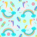 Seamless pattern with unicorn rainbow and ice cream - vector illustration, eps