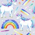 Seamless pattern of a unicorn,stars and rainbow.
