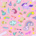 Seamless pattern with unicorns, rainbow, stars, clouds and other magic elements.Vector background stickers, pins
