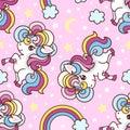 Seamless pattern with unicorns, rainbow