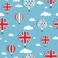 Seamless pattern of united kingdom hot air balloons with clipping path Royalty Free Stock Photos