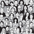 Seamless pattern unrecognizable people faces in crowd Royalty Free Stock Photo